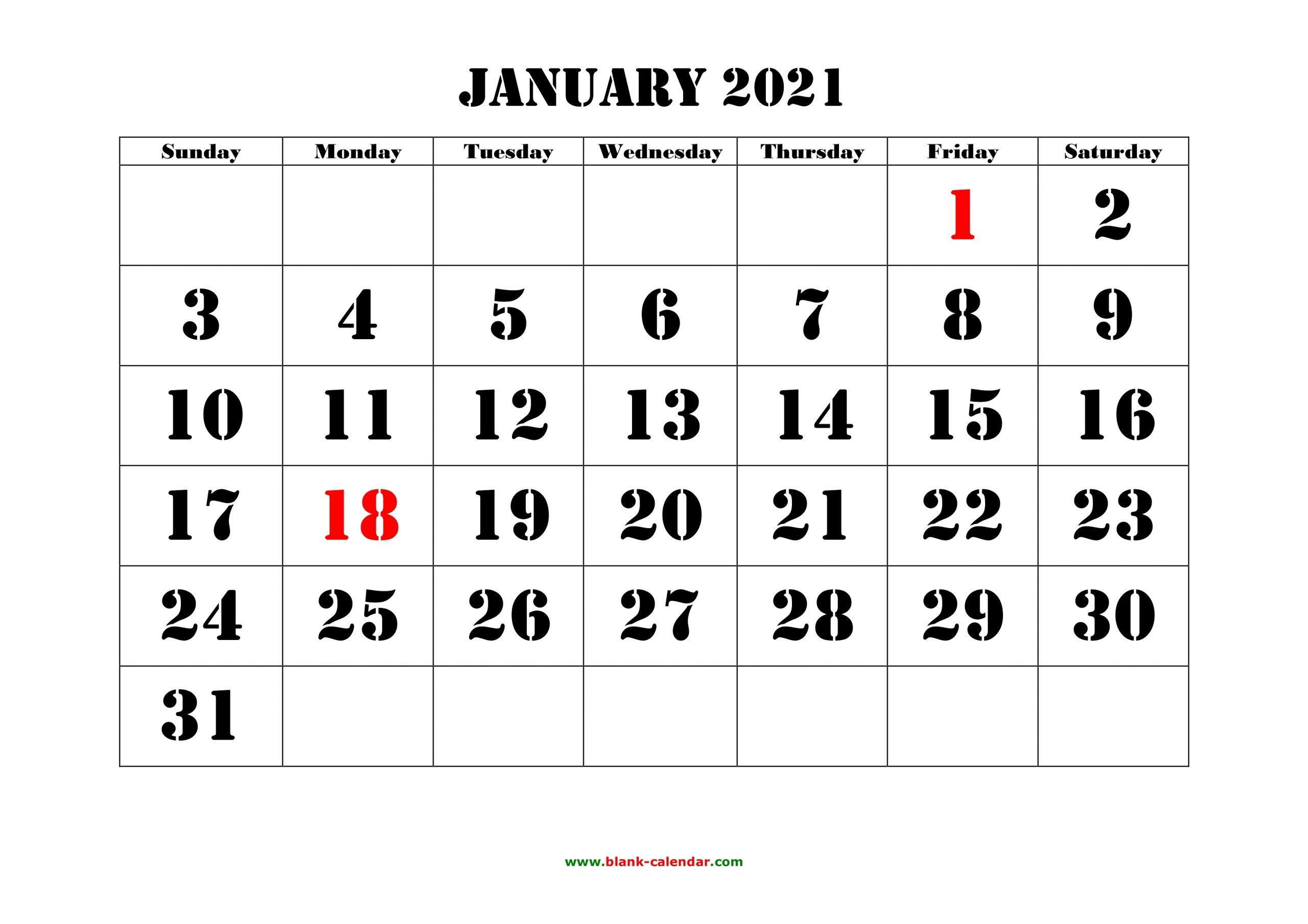 Take 2021 Printable Calendar Monthly