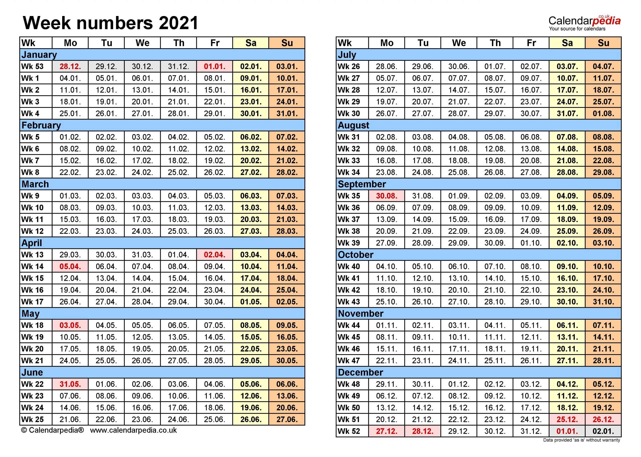 Take 2021 Week Dates Excel