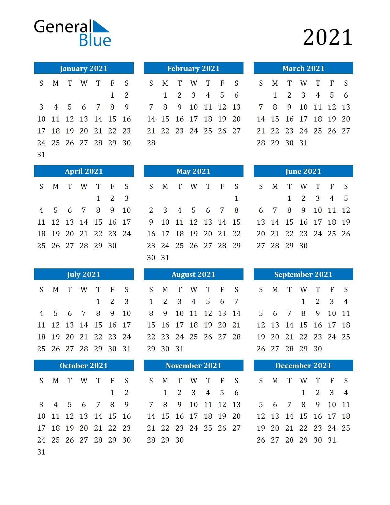 Take 2021 Weekly Calendar