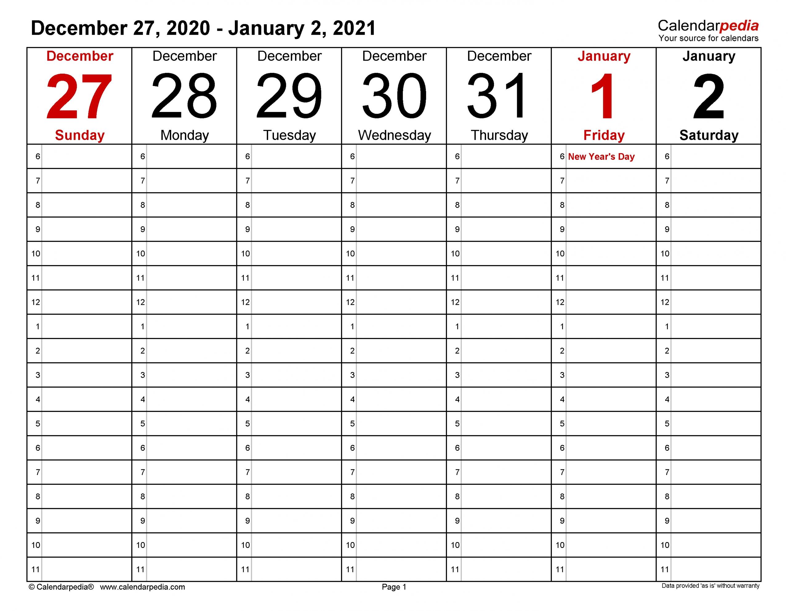 Take 2021 Work Week Calendar Printable
