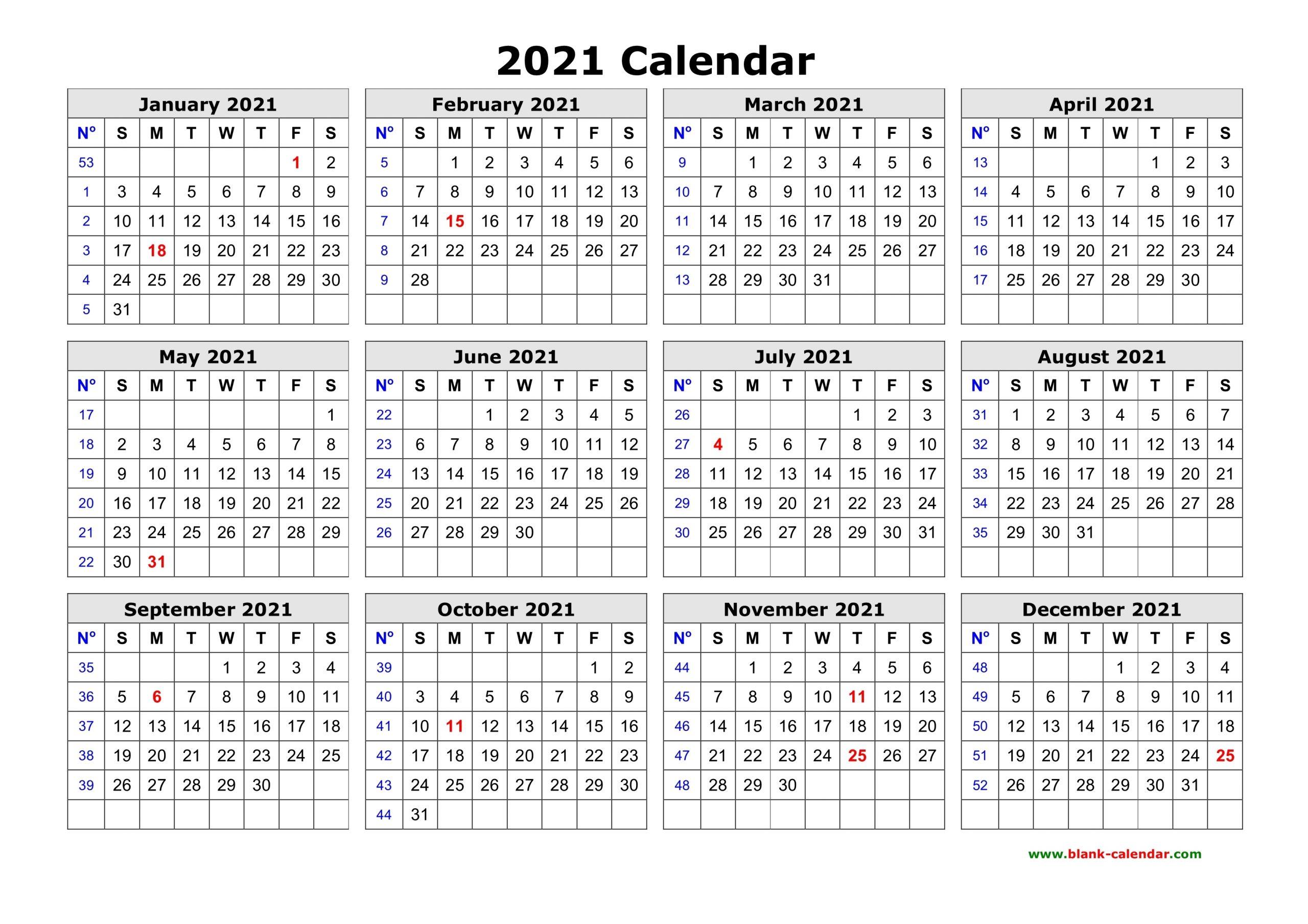 Take 2021 Yearly Calendar Free Pdf Printable
