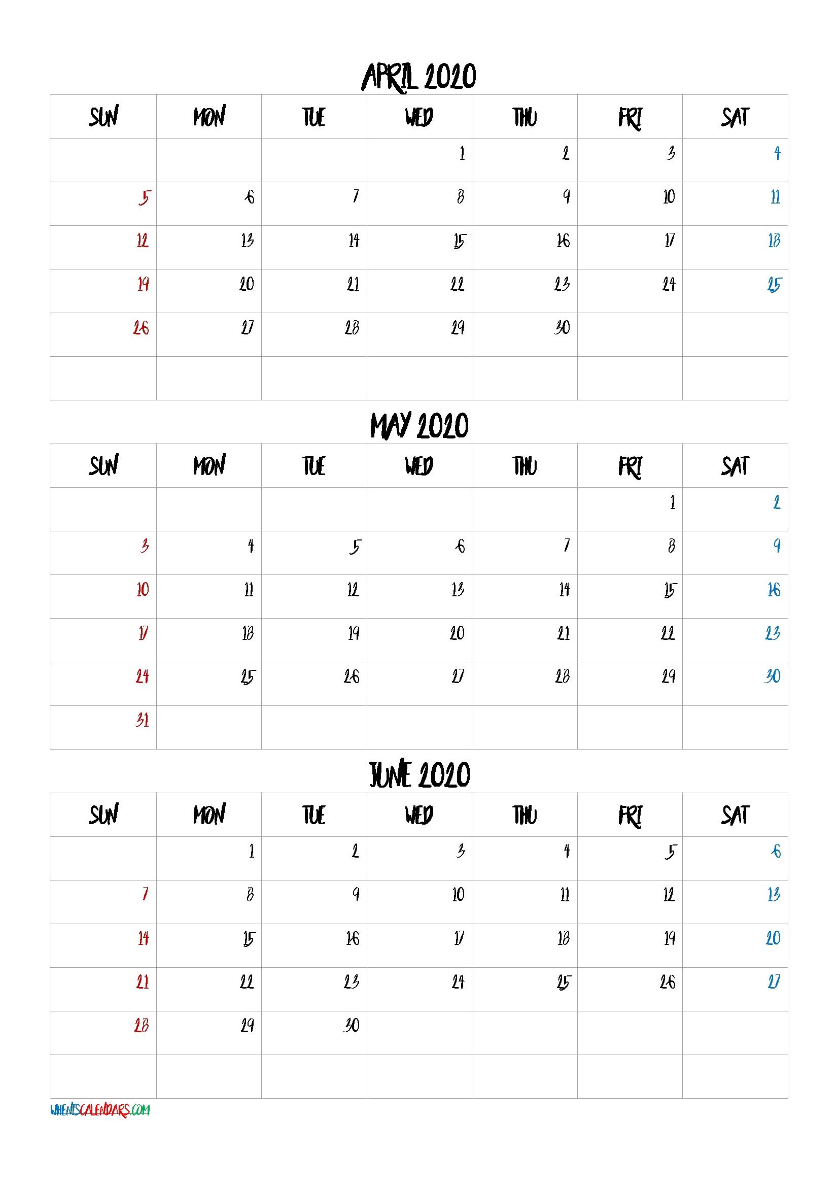 Take 3 Month Calendar Template