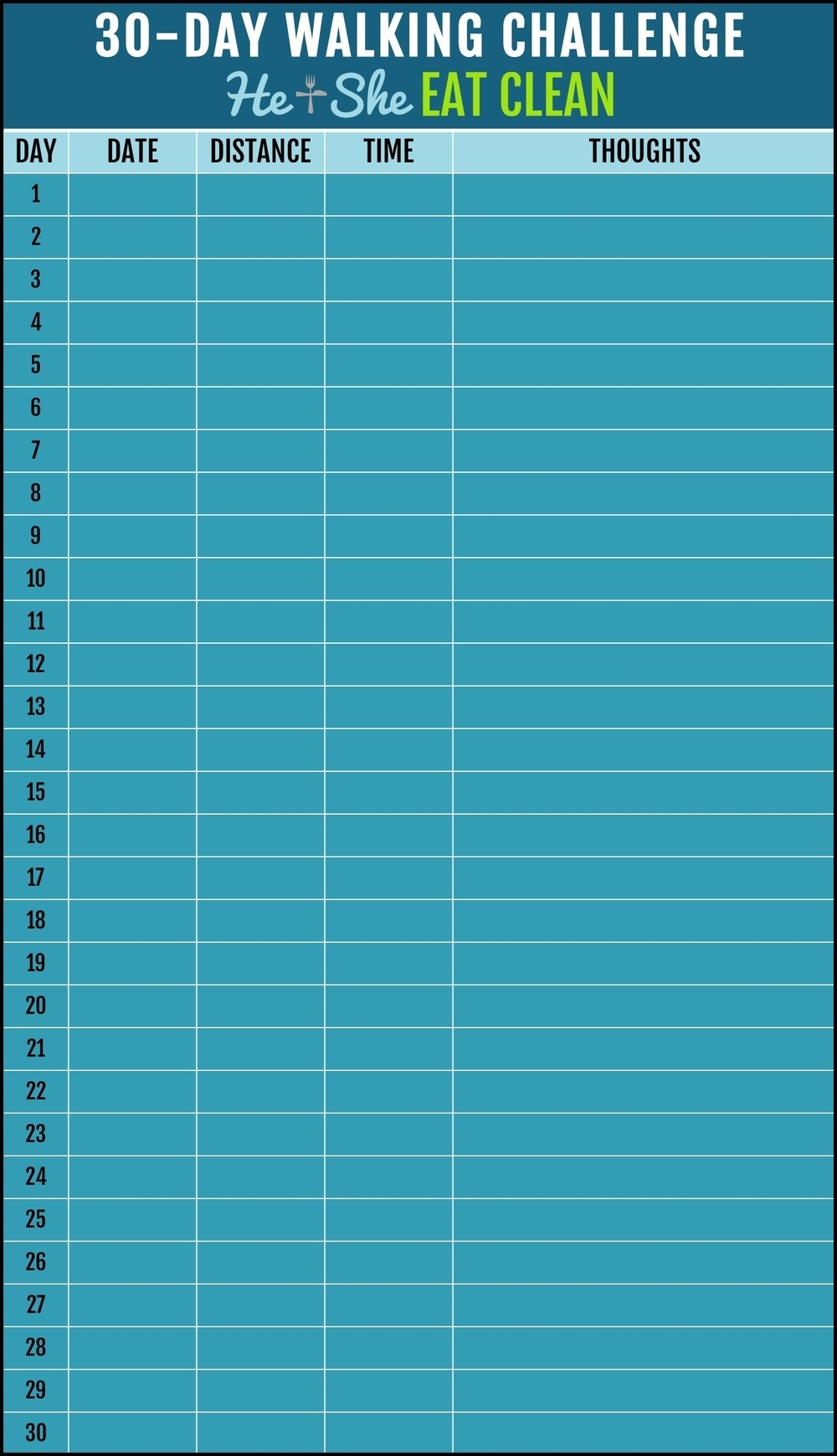 Take 30 Day Fitness Challenges Printable Charts