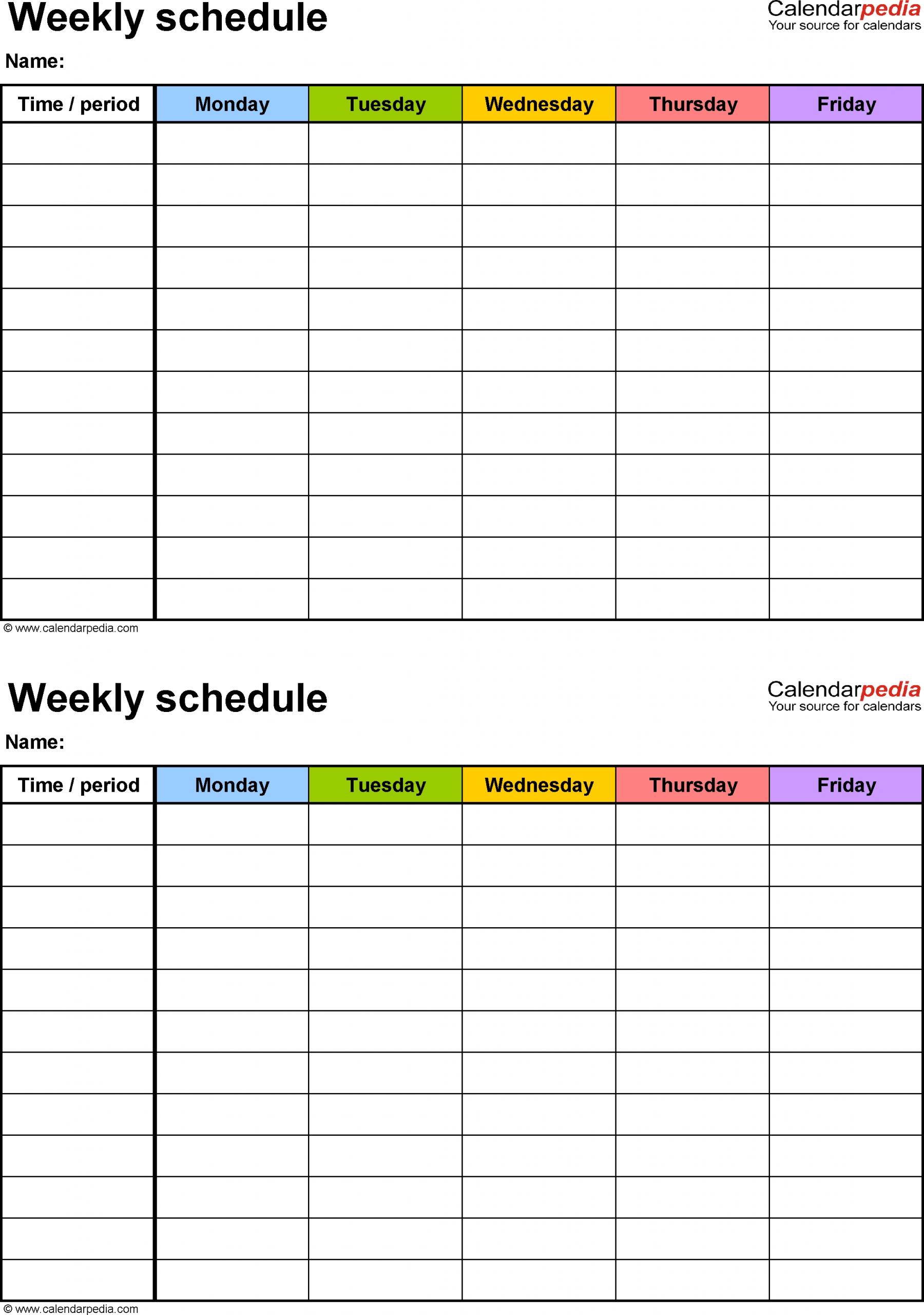 Take 5 Day Calendar For Microsoft Word