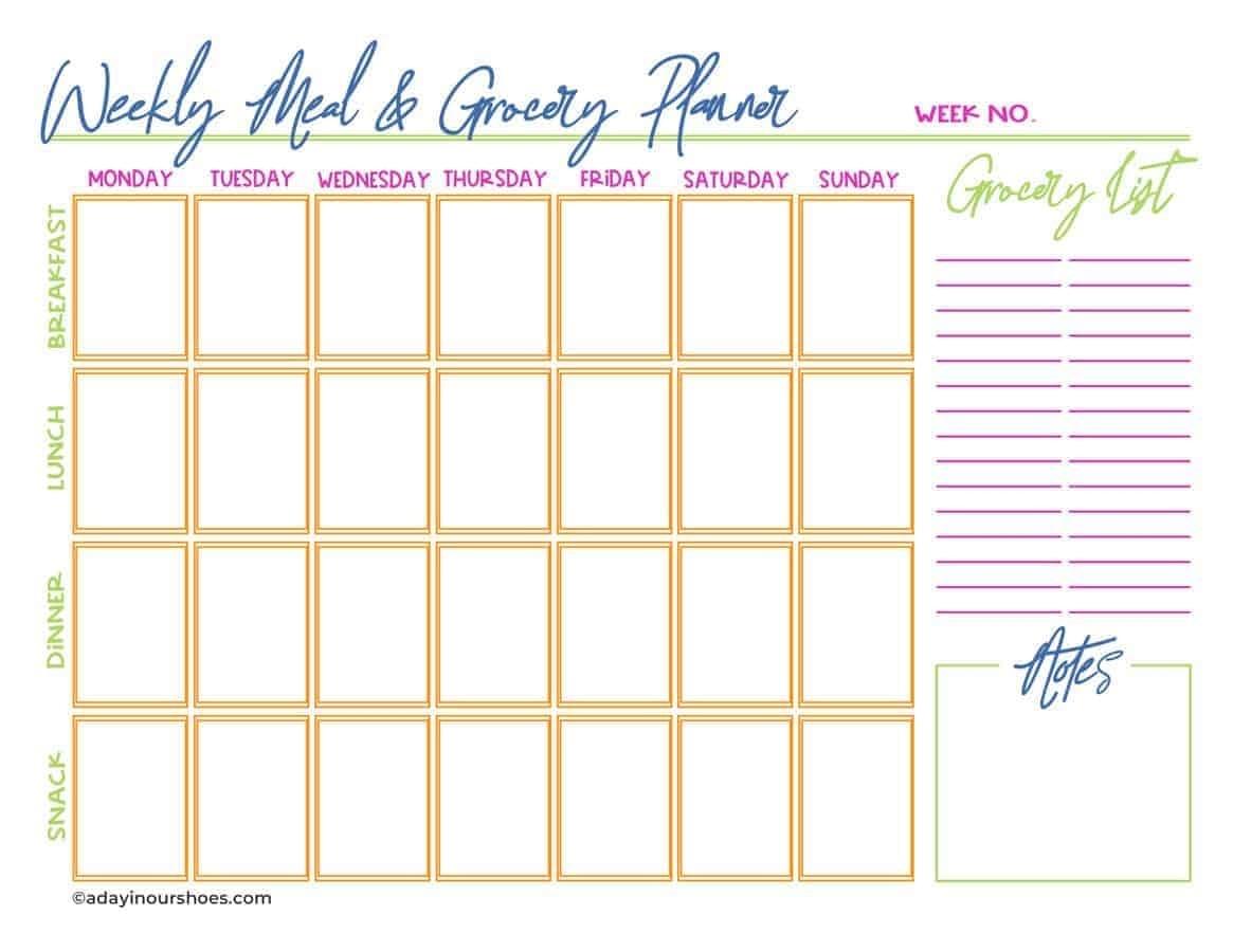 Take 5 Week Rotating Meal Plan Template