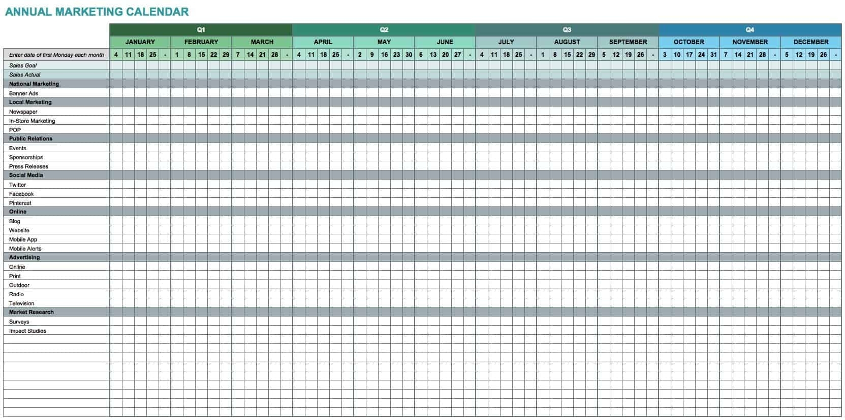 Take 52Weak Calendar Excel