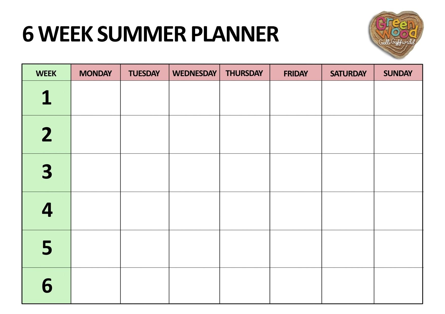 Take 6 Week Blank Schedule