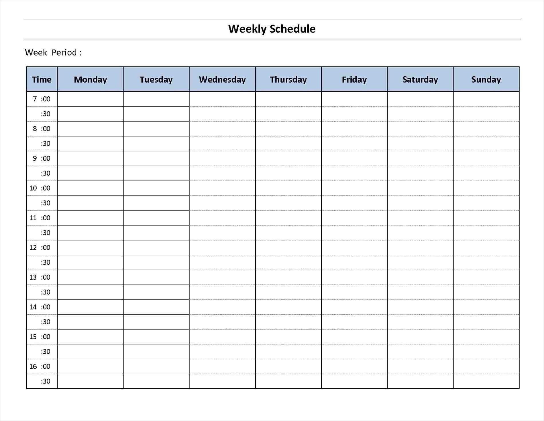 Take 7 Day A Week Printable Fillable Calendar