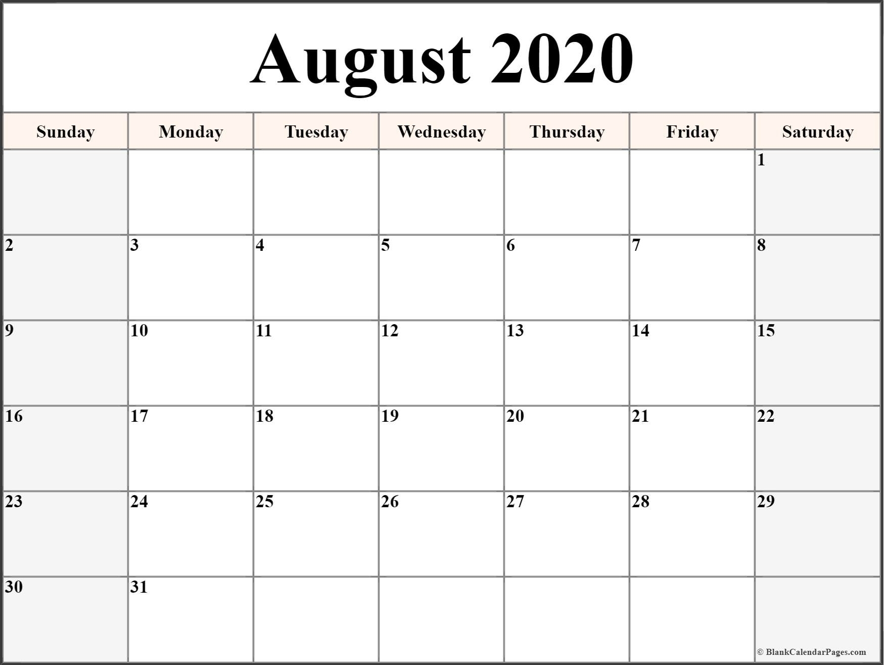 Take 8X11 Printable August 2021 Calendar