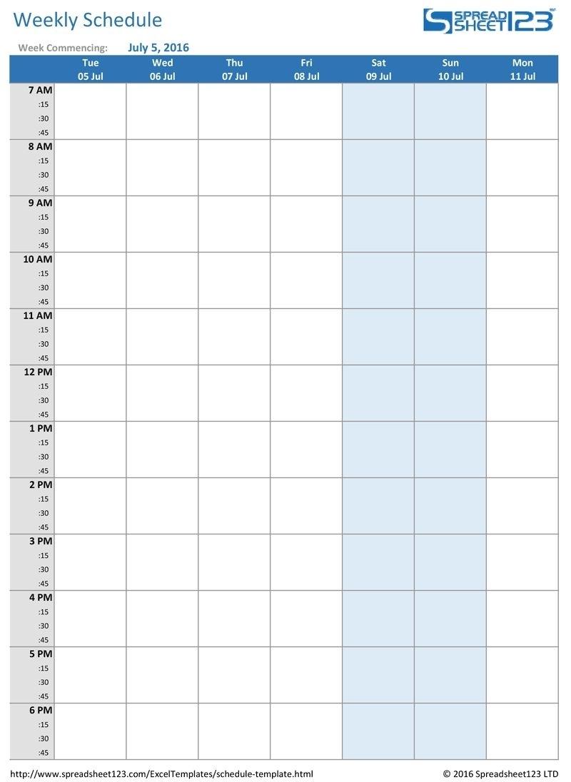 Take Am Pm Weekly Calendar