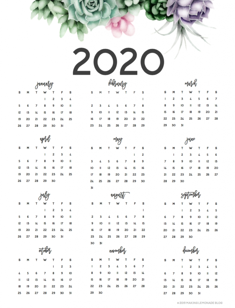 Take At A Glance Printable Calendar