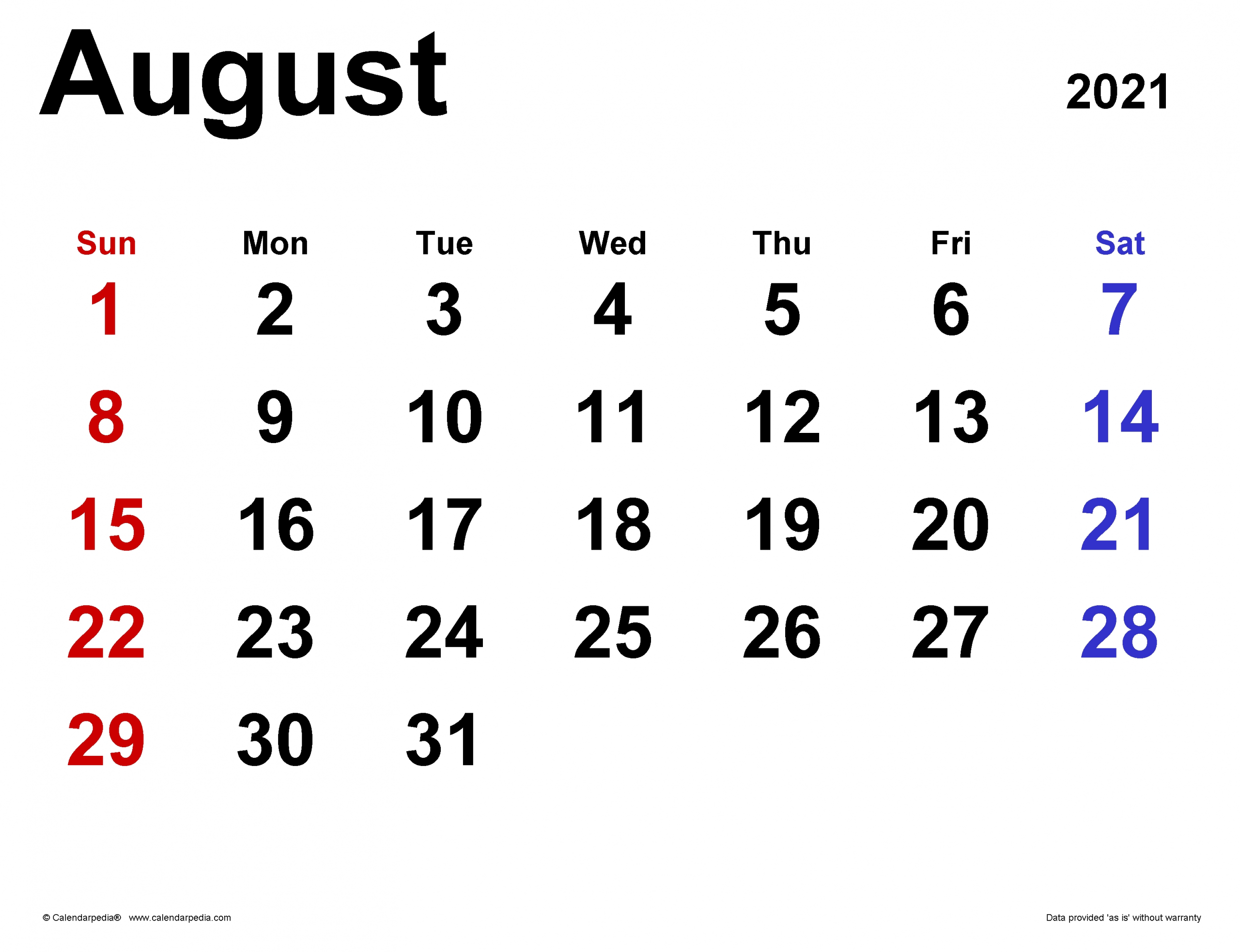Take August 2021 Calendar