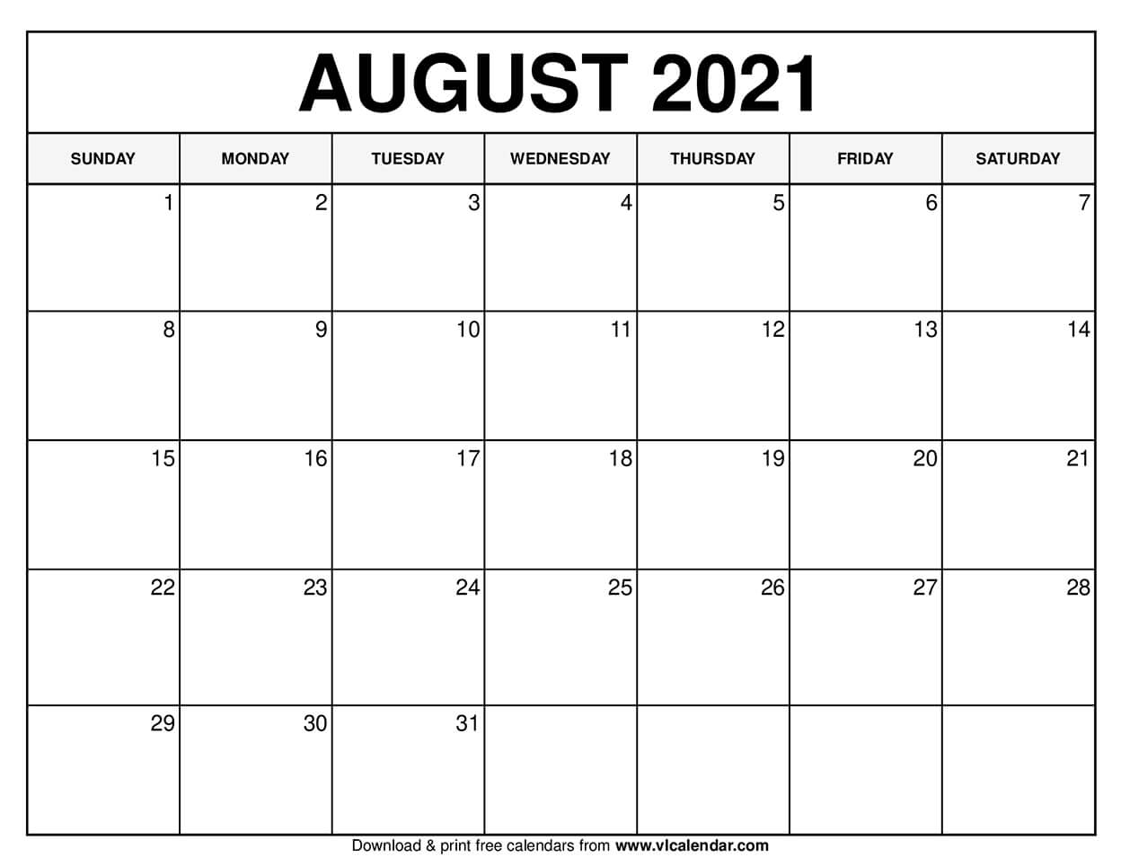 Take August 2021 Calendar To Fill In