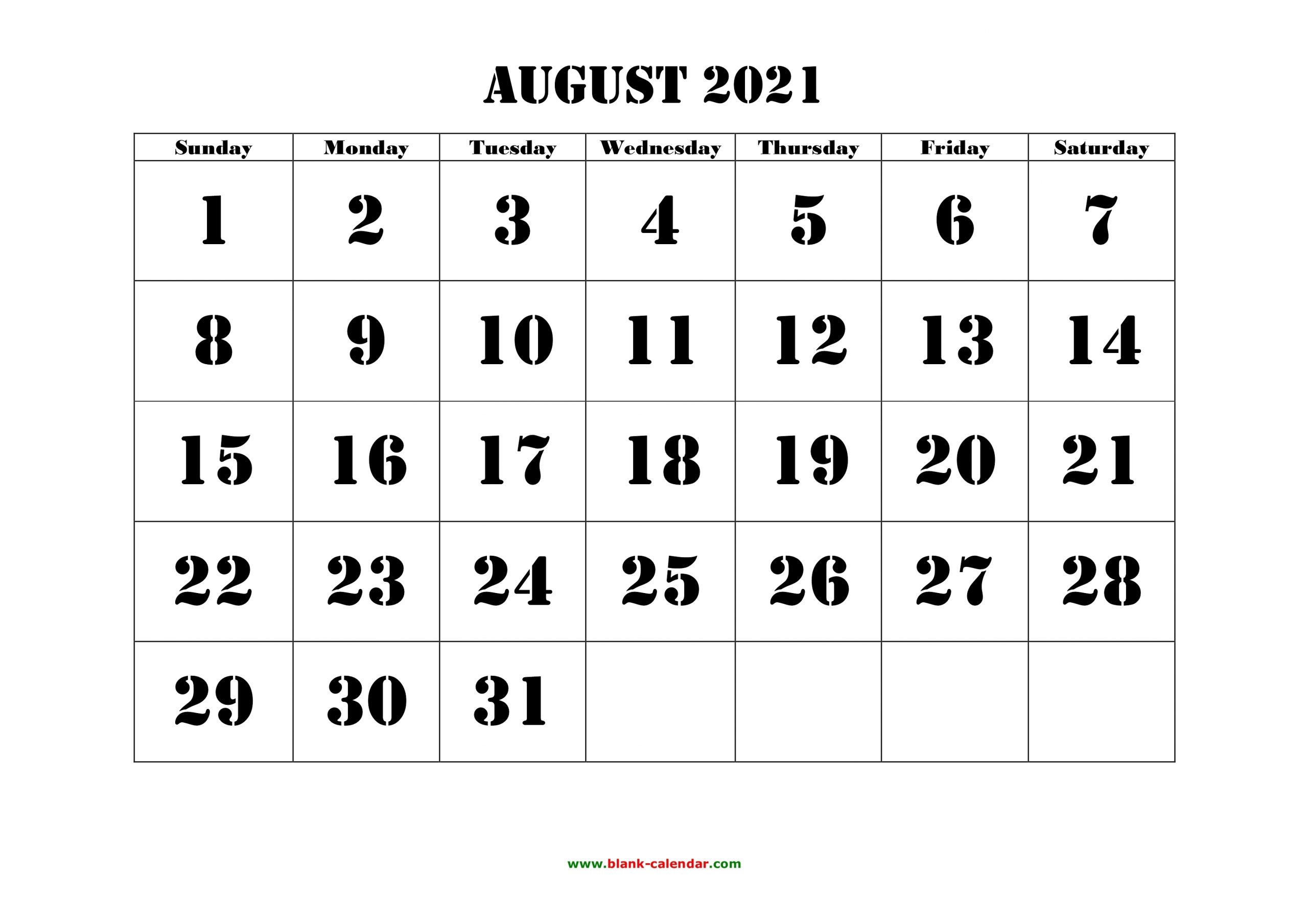 Take August 2021 Calendar With Text Boxes Printable With Grid Box