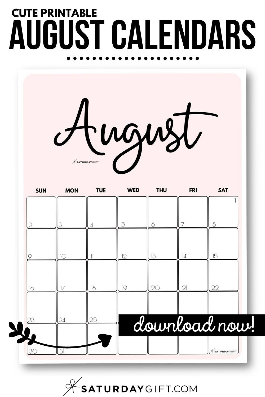 Take August 2021 Printable Calendar Colorful