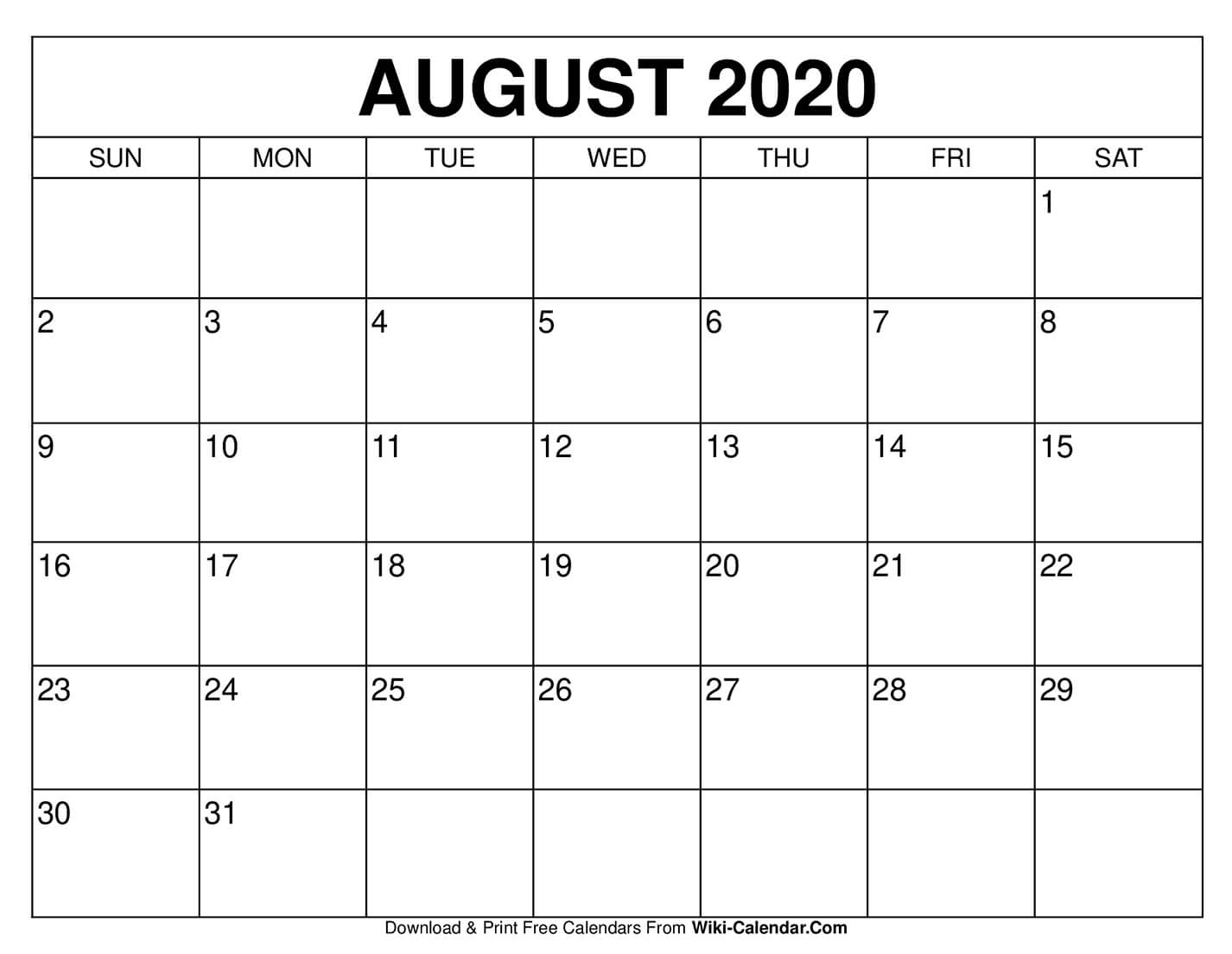 Take August Calendar Type In