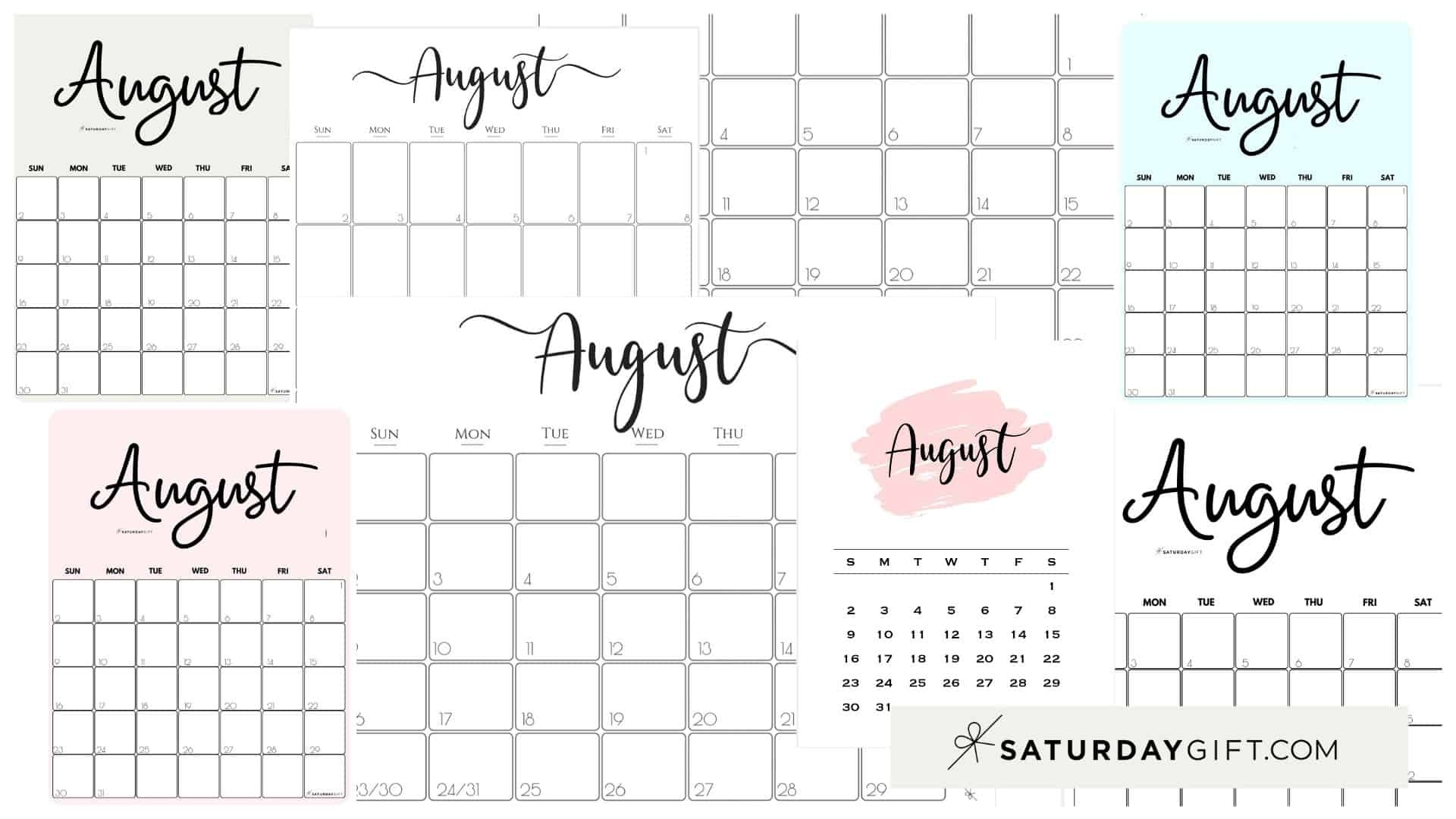 Take August Girly Printable Calendar