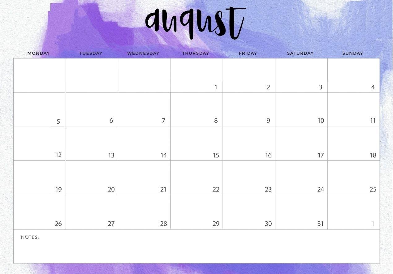 Take August Monthly Calendar Landscaoe