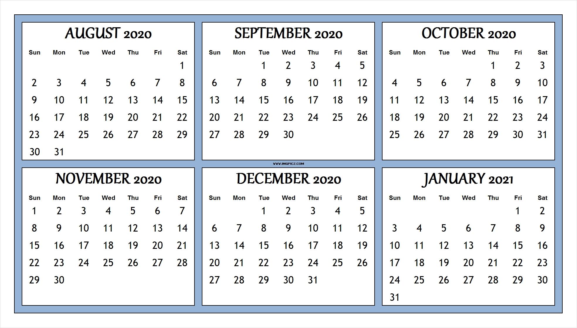 Take August Through December 2021 Calendar Printable