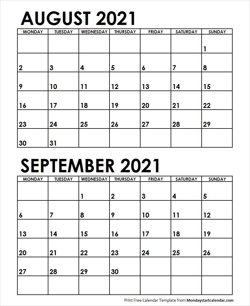Take August Through September Calendar 2021