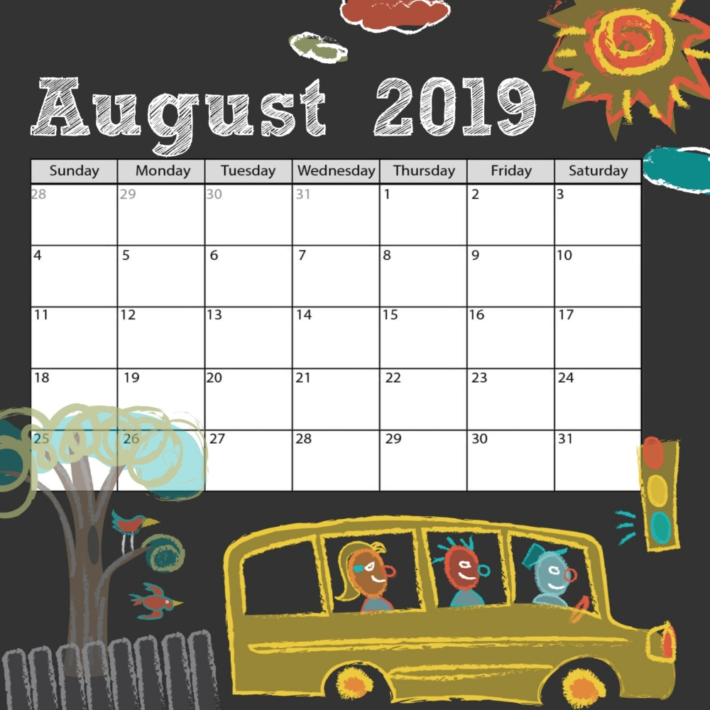 Take Back To School August Calander