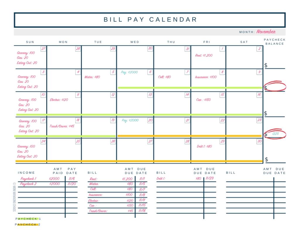 Take Bi Weekly Bill Payment Worksheet