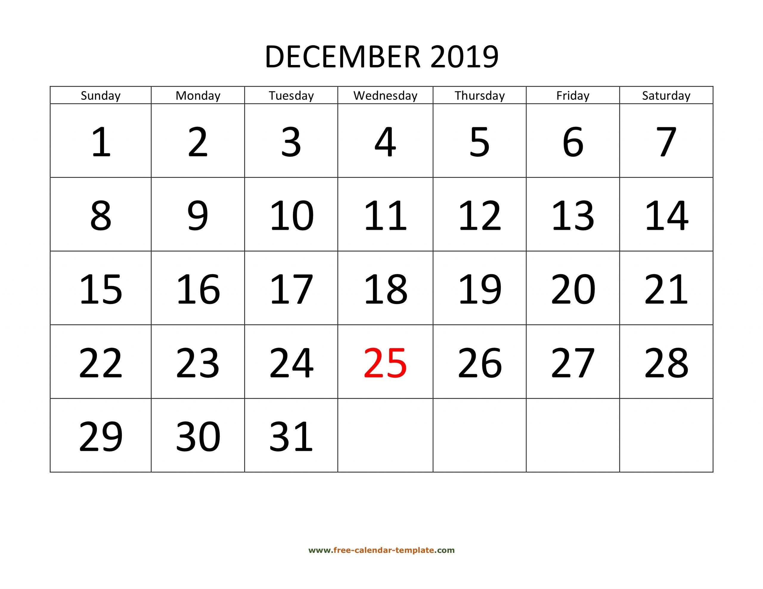 Take Big Number Printable Calendar