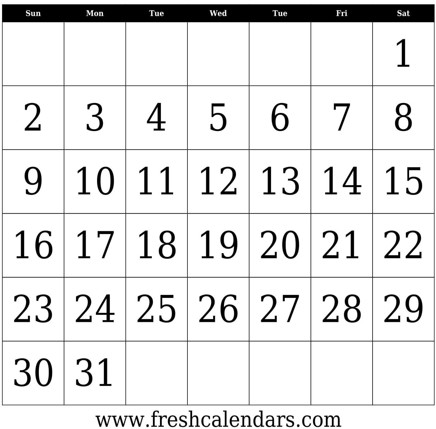 Take Blank 31 Day Calendar Printable