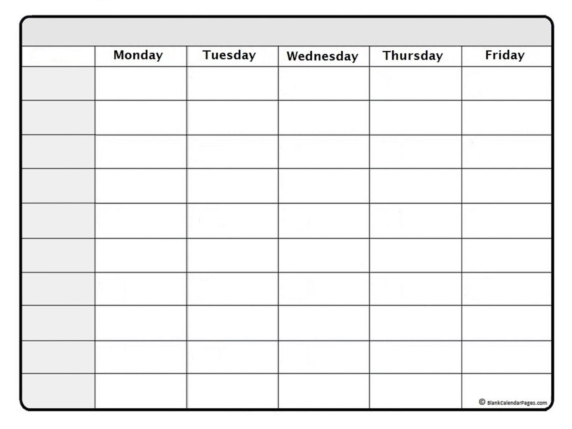 Take Blank 7 Day Calendar Printable