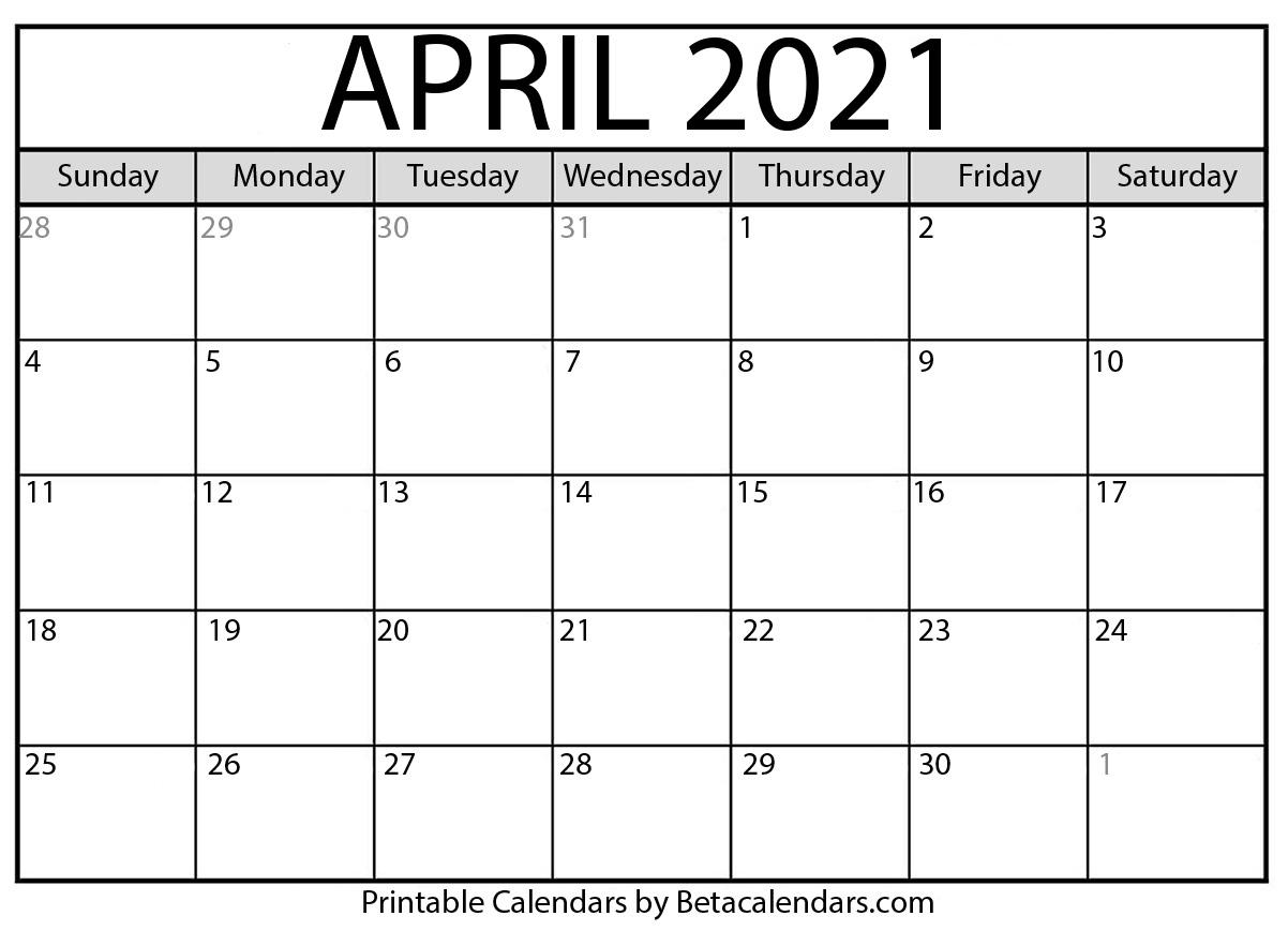 Take Blank April 2021 Calendar Printable