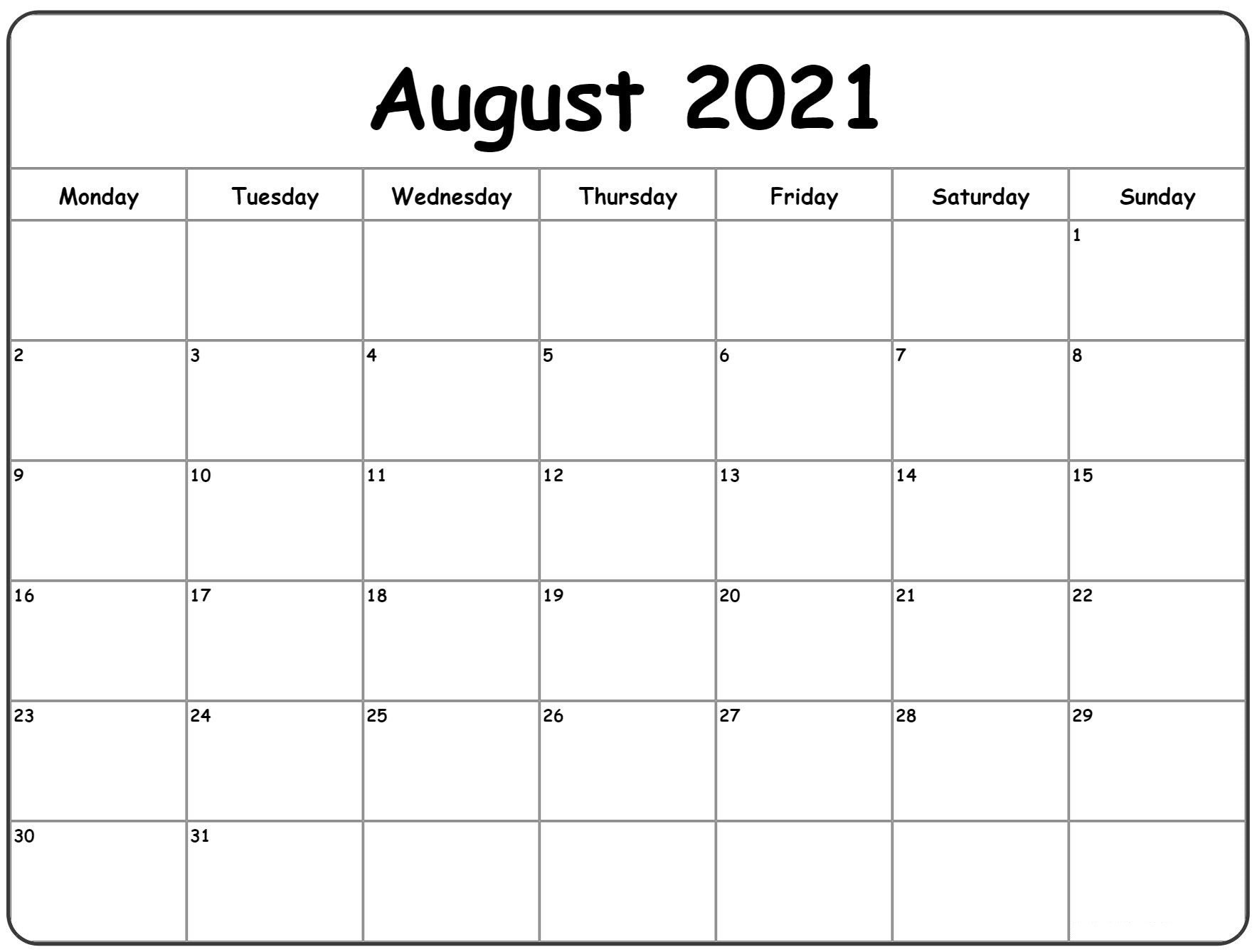 Take Blank August 2021 Calendar
