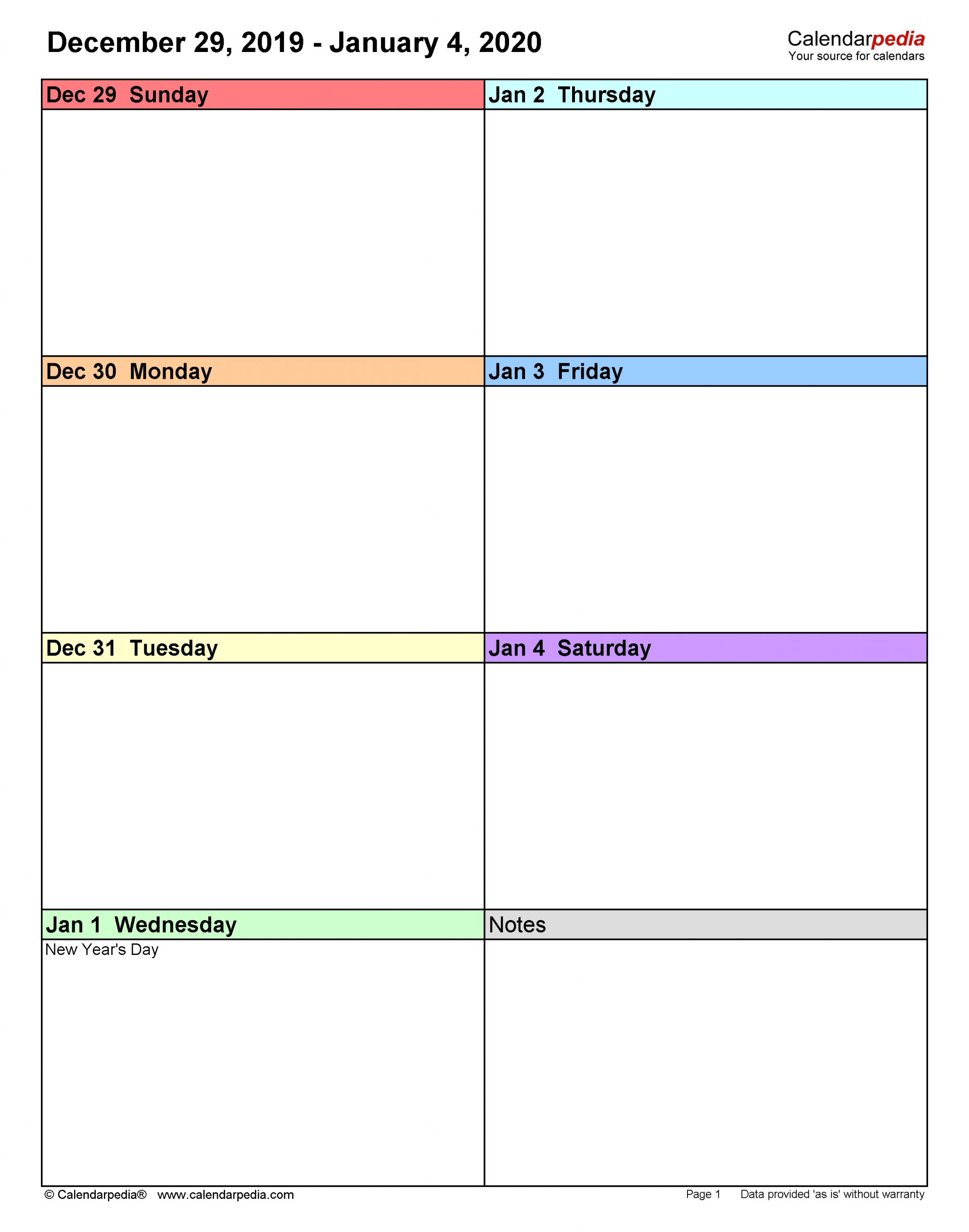 Take Blank Bi Weekly Calendar