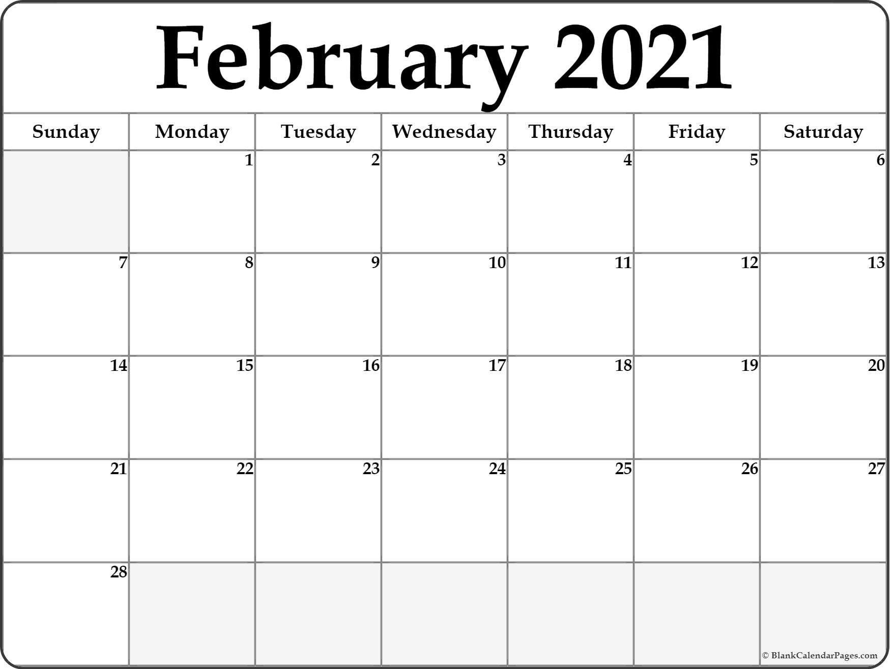 Take Blank Calendar 2021 Printable Monthly