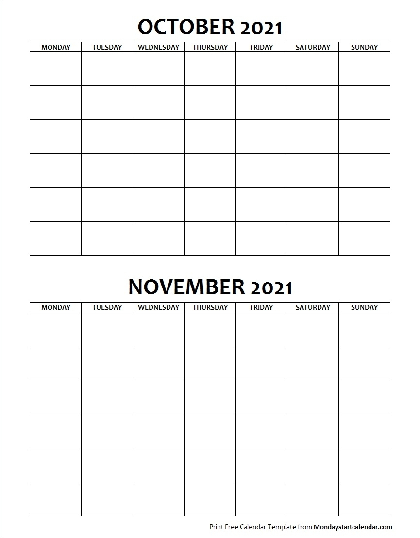 Take Blank Calendar 2021Monday To Sunday