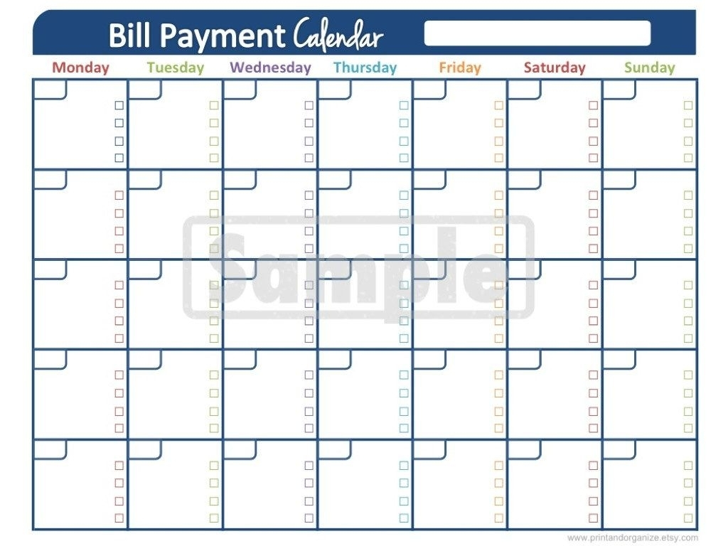 Take Blank Calendar For Bill Pay