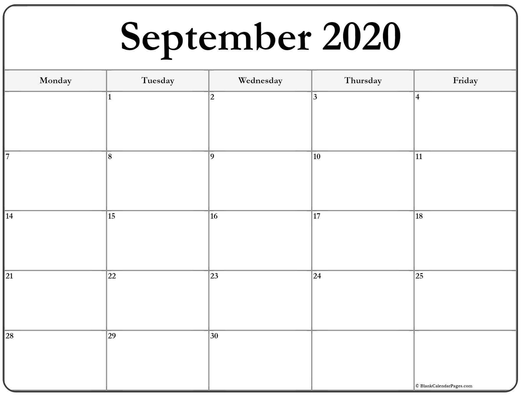 Take Blank Calender Monday Through Friday