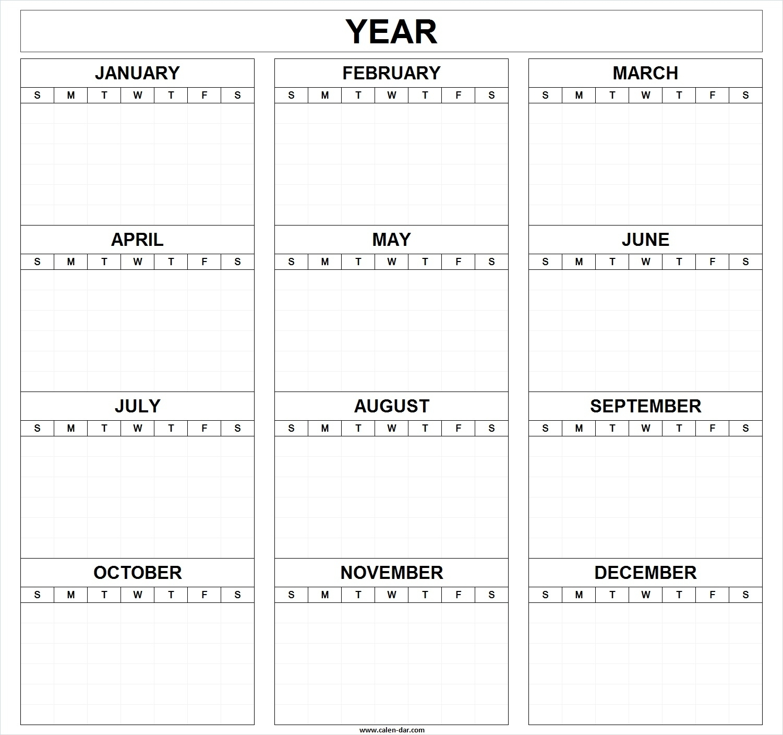 Take Blank Full Year Calendar