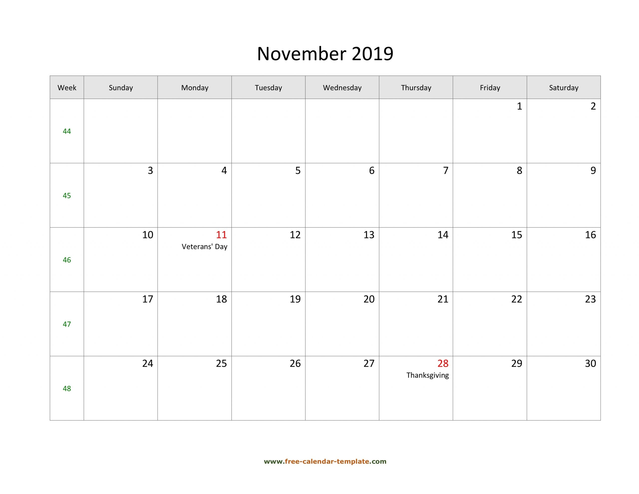 Take Blank Horizontal November Calendar