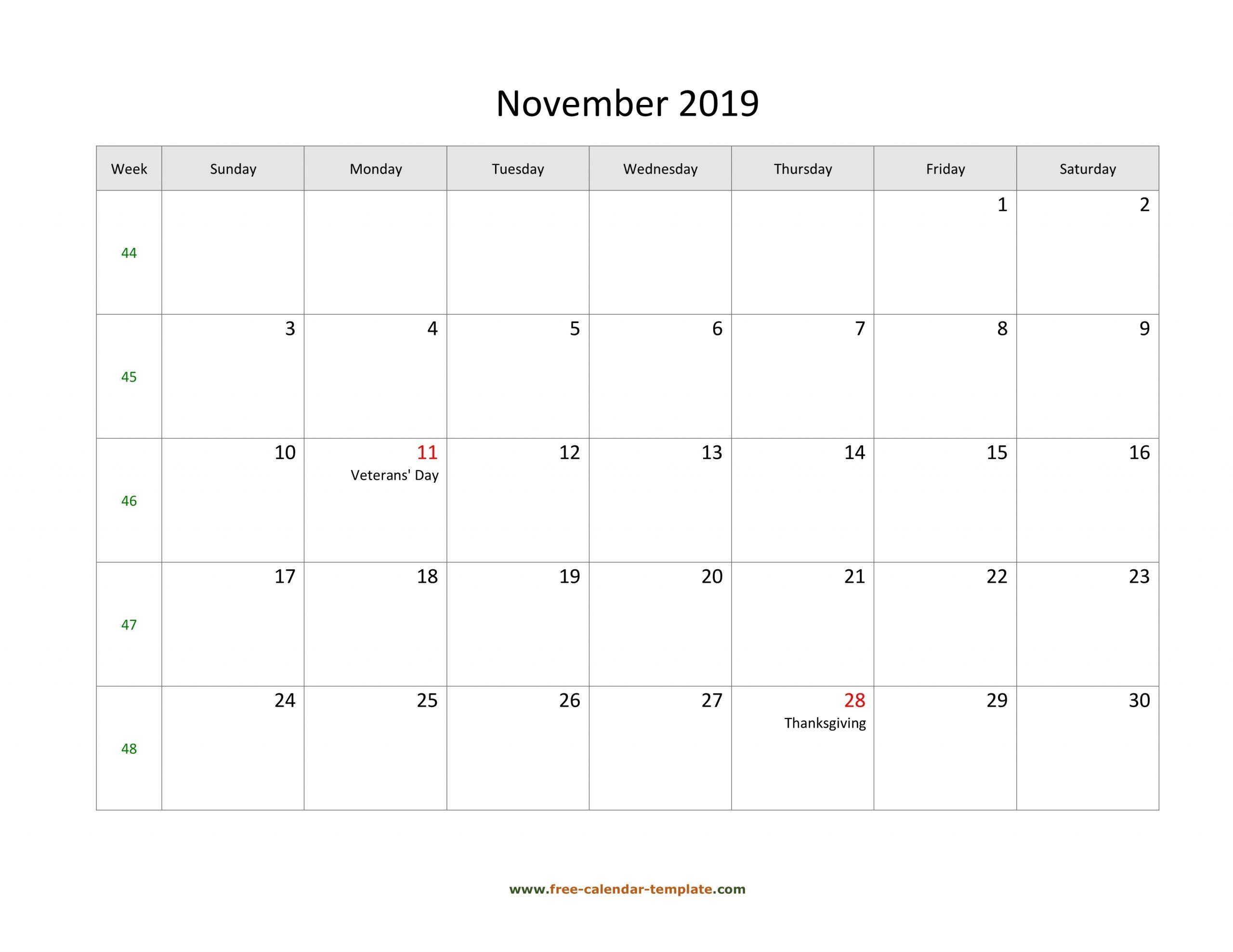Take Blank Horizontal November Calendar