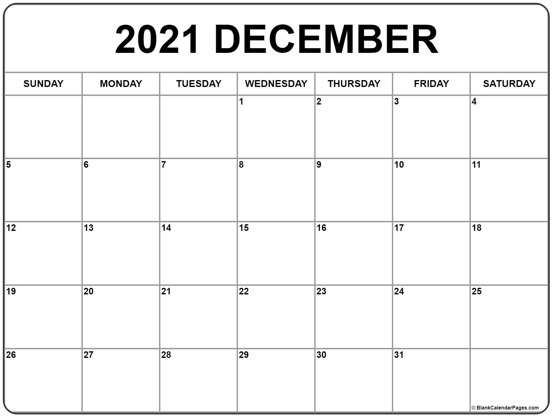 Take Blank Monthly Calendar Saturday To Friday December 2021