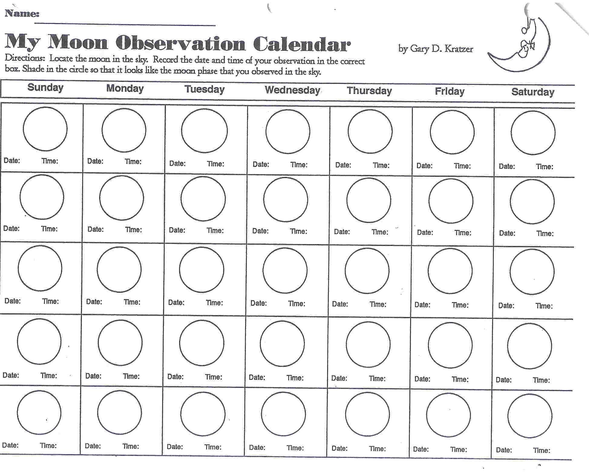 Take Blank Moon Phase Calendar For Kids