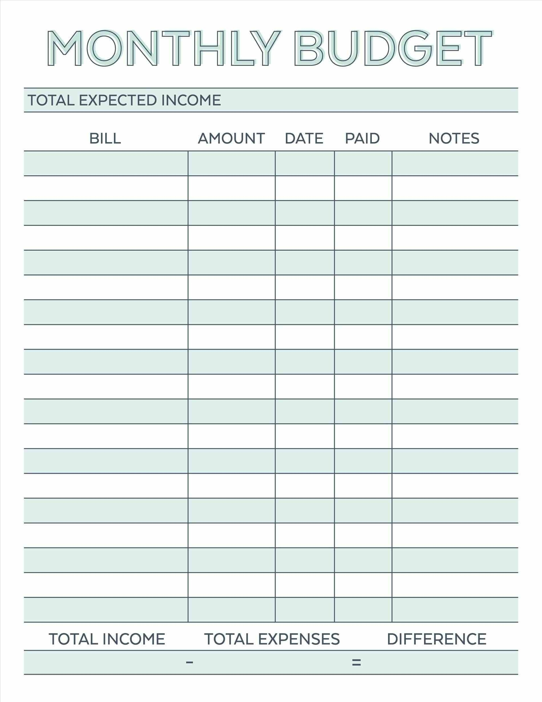 Take Blank Printable Monthly Bills Worksheet