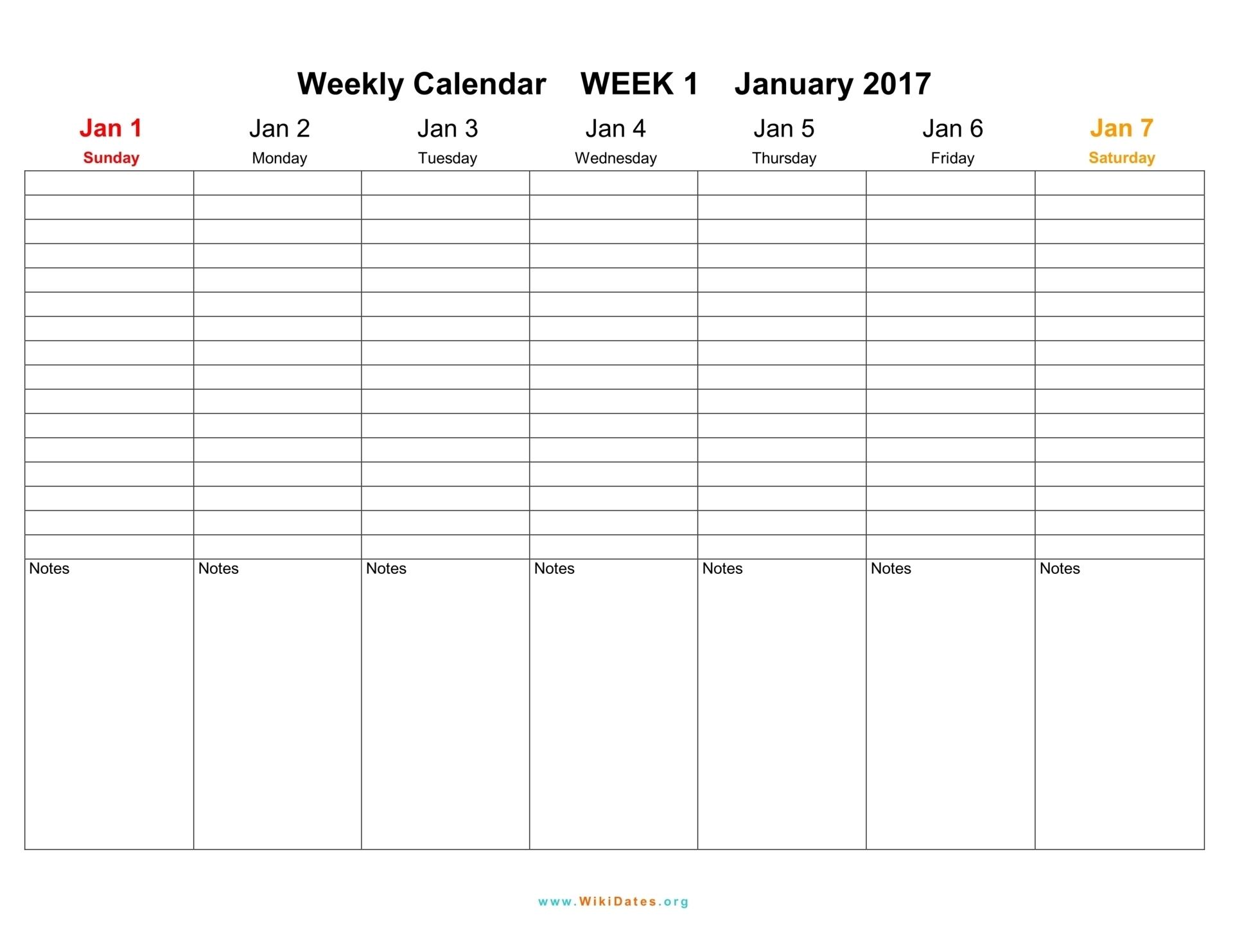 Take Blank Work Week Calendar