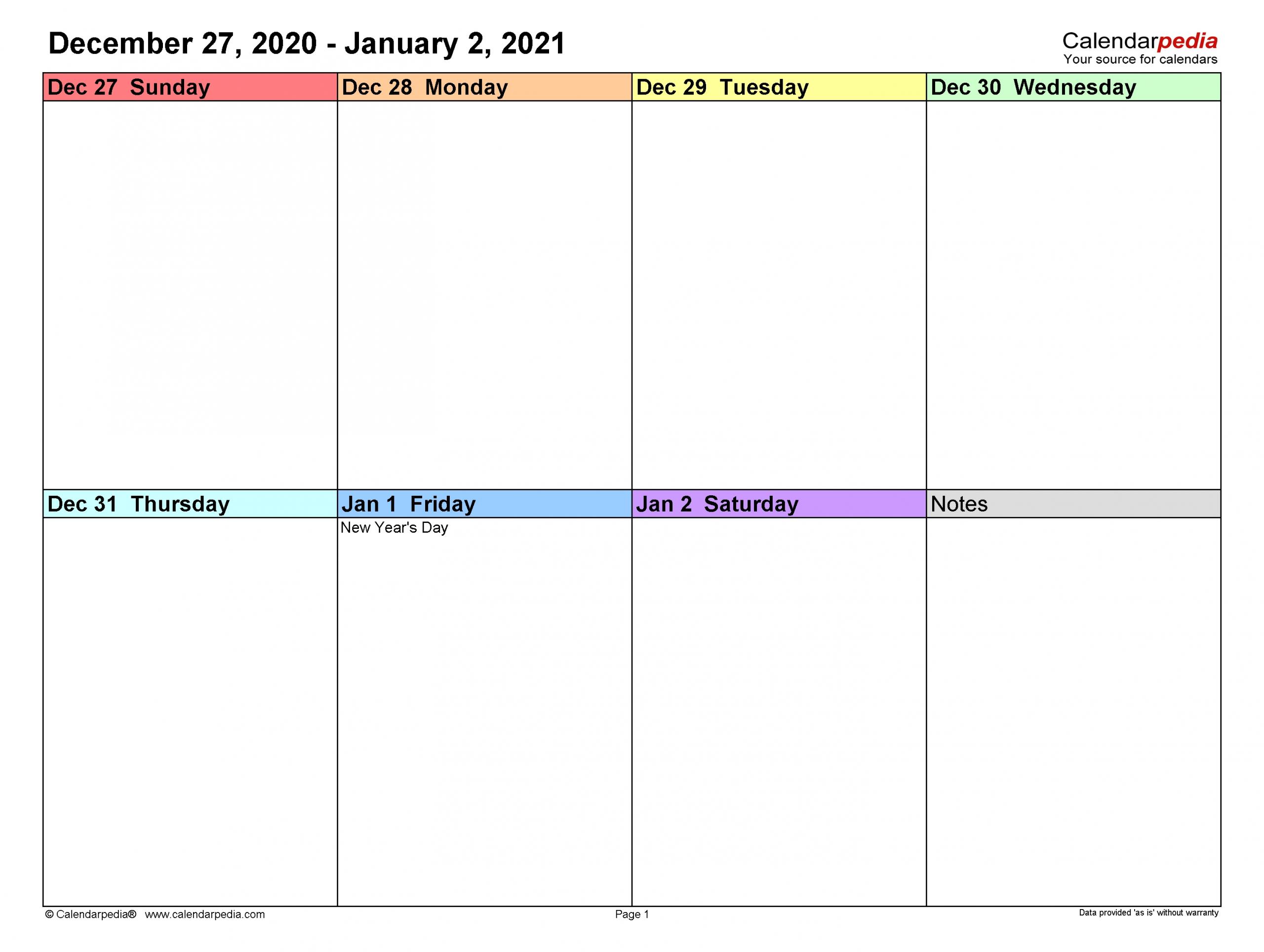 Take Blank Work Week Calendars 2021