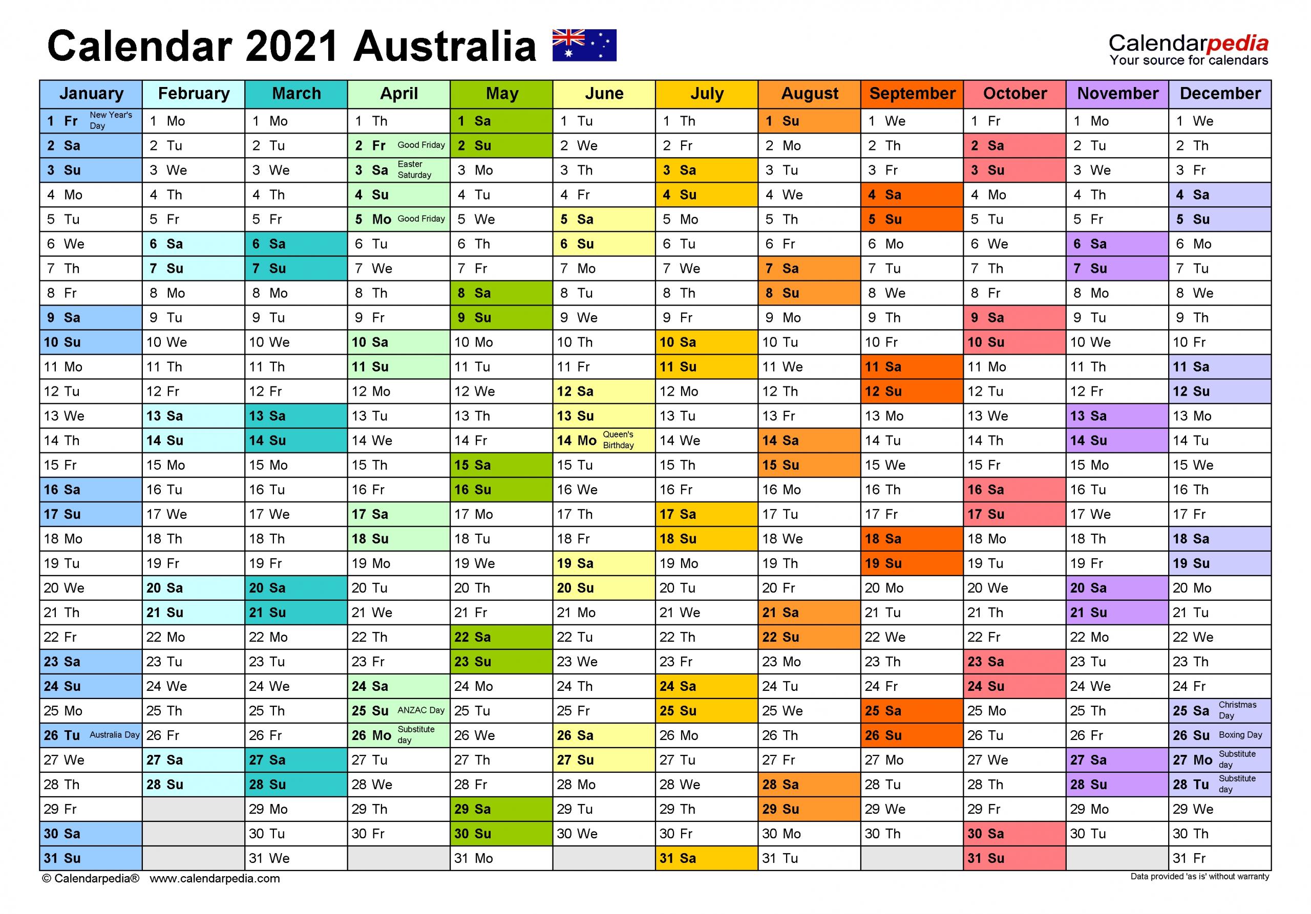 Take Calendar 2021 Australia