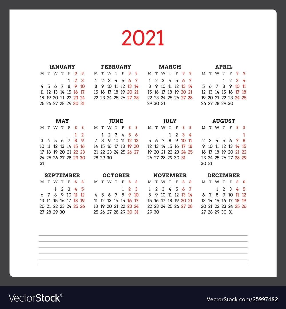 Take Calendar 2021 Week Starting Monday