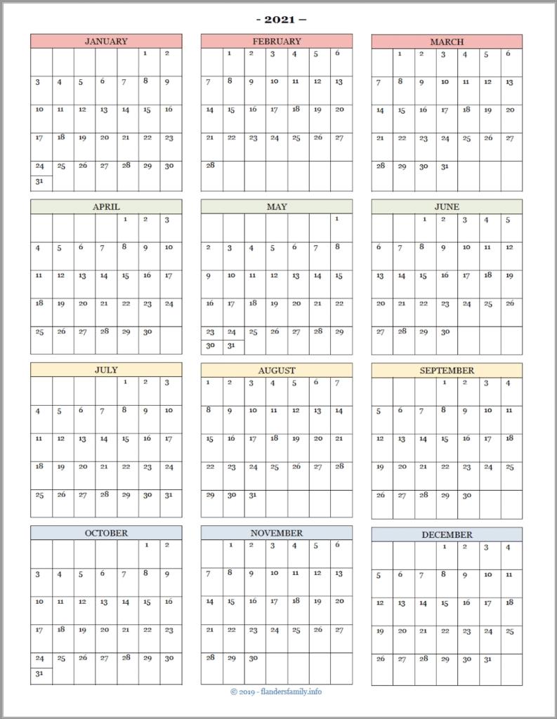 Take Calendar At A Glance 2021