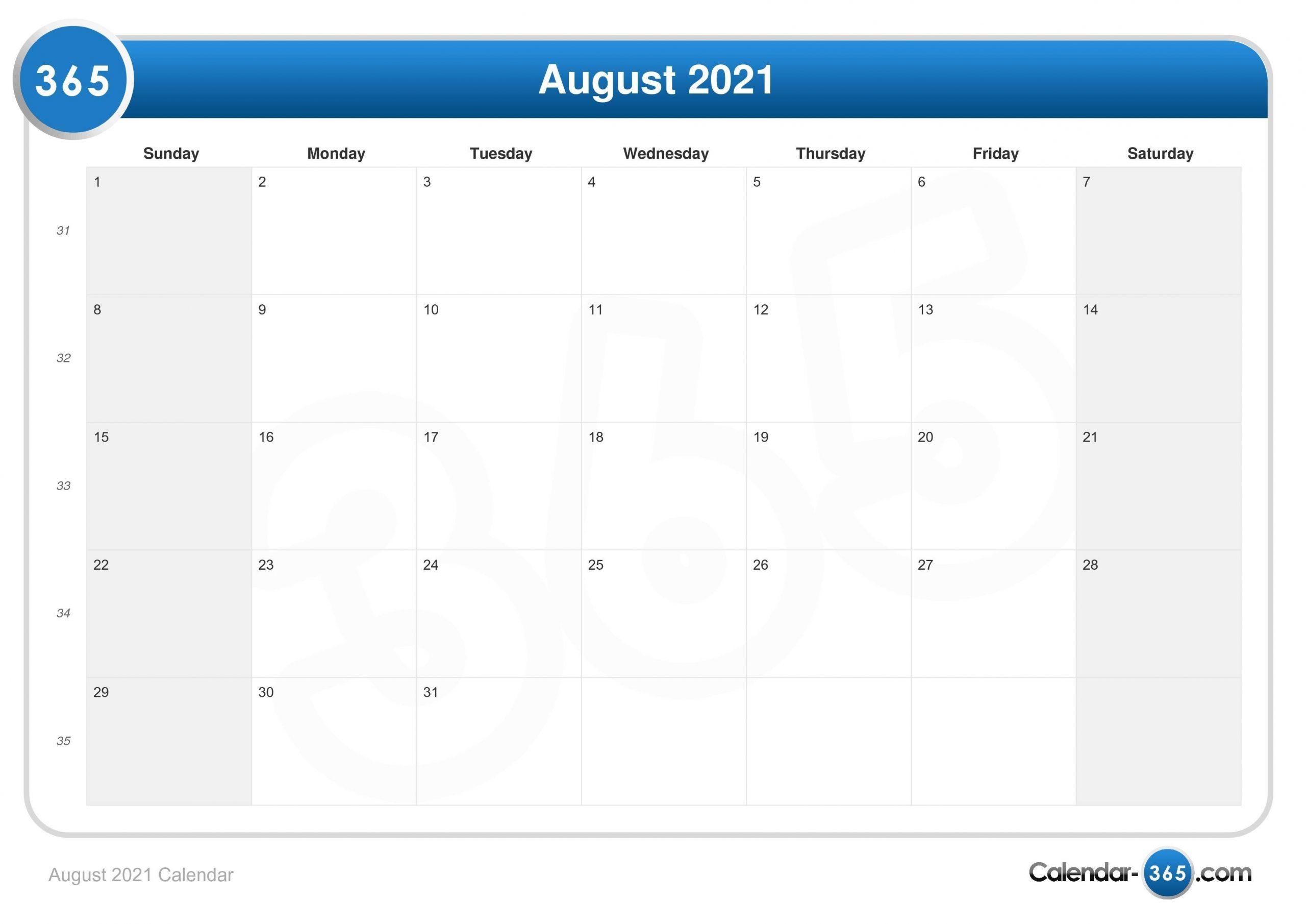Take Calendar August 2021