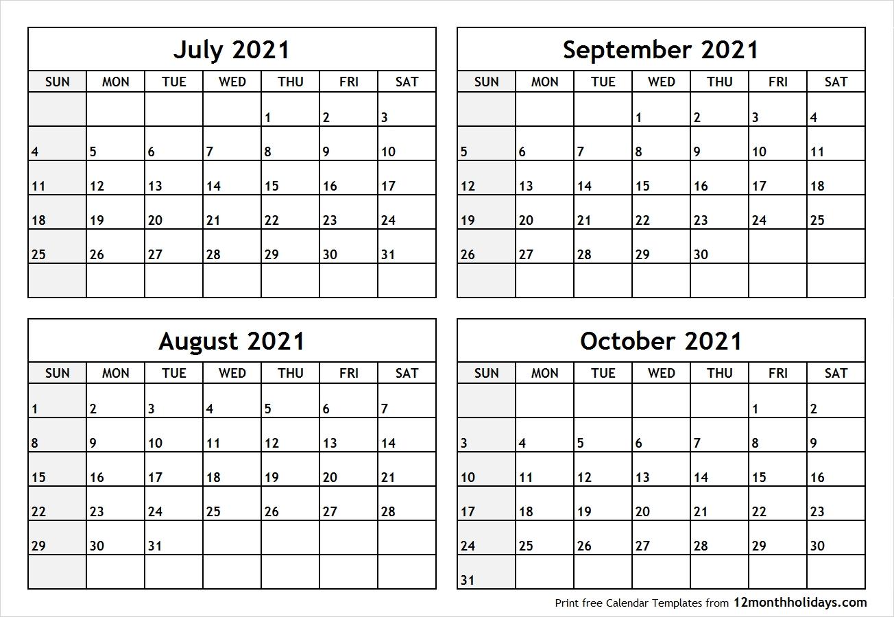 Take Calendar August September October 2021