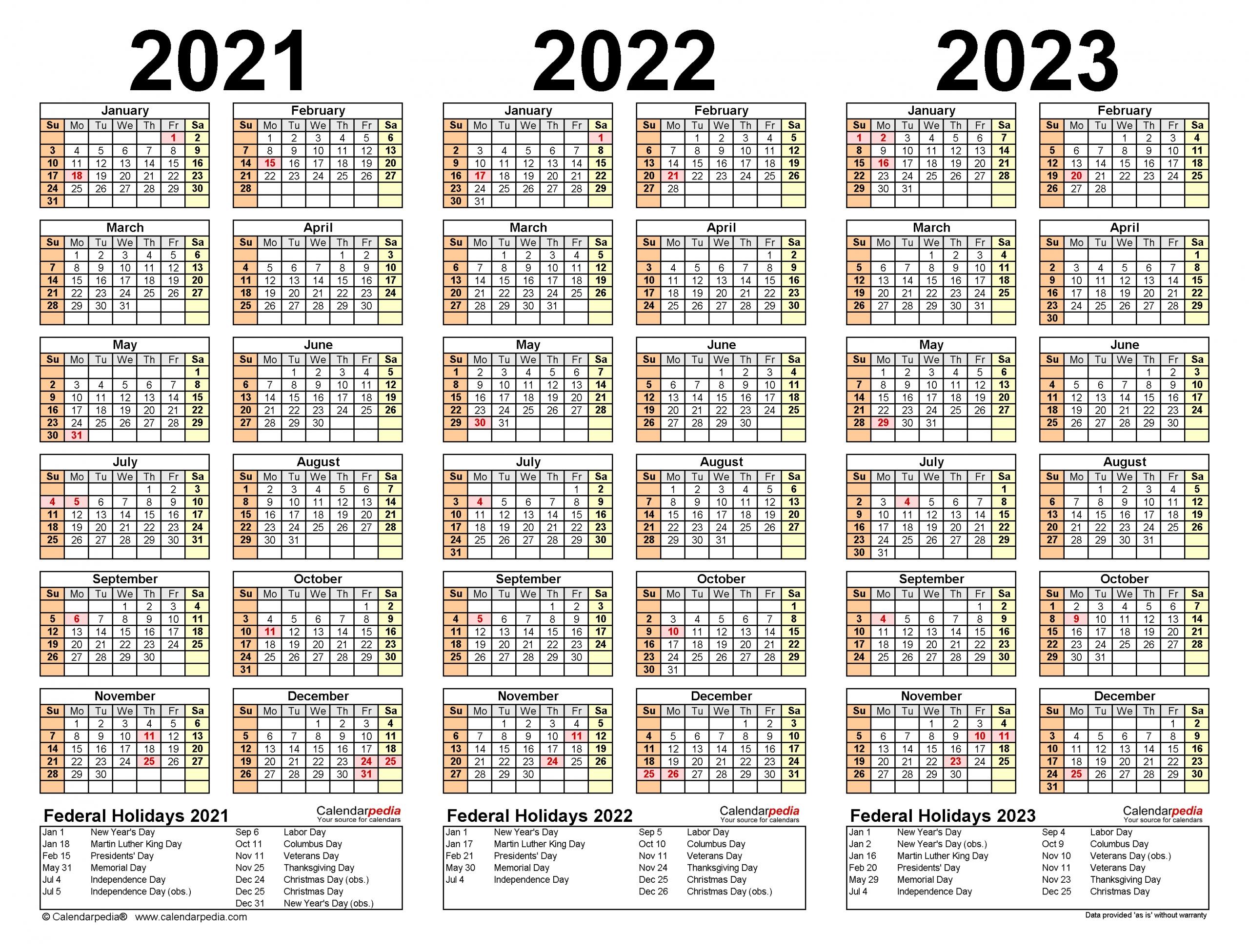 Take Calendar For 2021 2022 2023